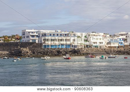 Scenic View To The Promenade Of Playa Blanca, Lanzarote From Seaside