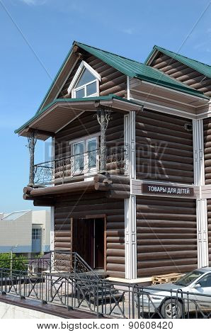 irkutsk, Russia-June,18 2014: A two-storey log house with wrought-iron balcony