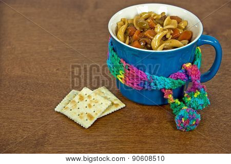 beef noodle soup in mug