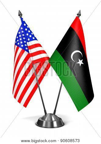 USA and Libya - Miniature Flags.