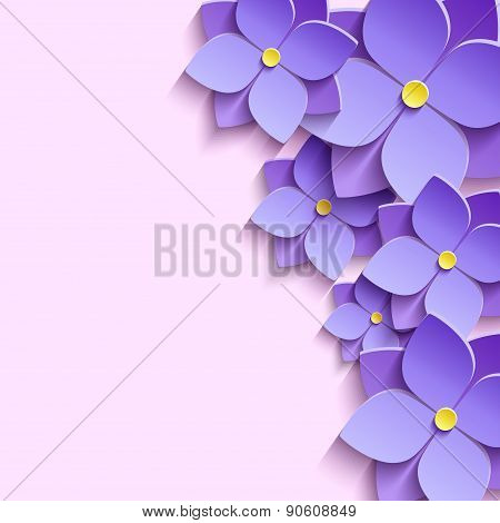 Festive Background With 3D Flowers Violets