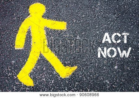 Yellow Pedestrian Figure Walking Towards Act Now