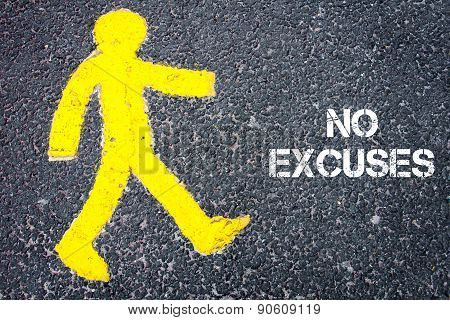 Yellow Pedestrian Figure Walking Towards No Excuses