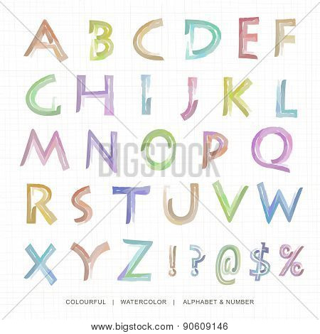 Watercolor uppercase alphabet and notation.