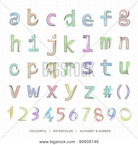 Watercolor lowercase alphabet and notation.