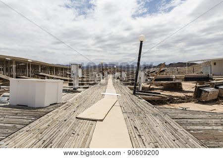 Drought damaged marina at Lake Mead National Recreation Area in Southern Nevada.