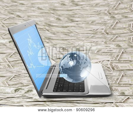 laptop screen display with  design