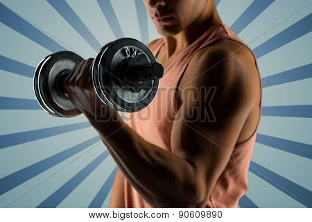 sport, fitness, weightlifting, bodybuilding and people concept - close up of young man with dumbbell flexing biceps over blue burst rays background
