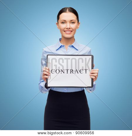 business, people, employment and law concept - young smiling businesswoman holding clipboard and contract over blue background