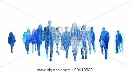 Business people moving blur. People walking in rush hour. Business and