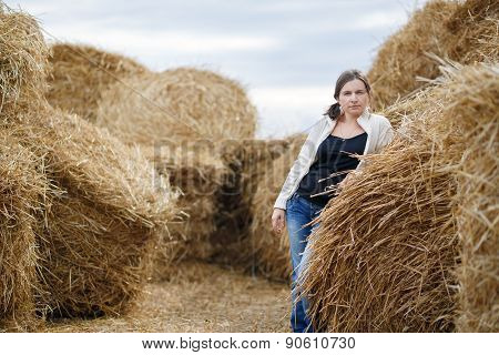 Woman And Haystacks