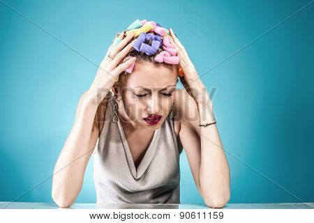 Pain Concept. Woman With Headache.
