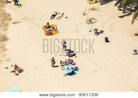 Beach With Tourists In Summer In Arrecife