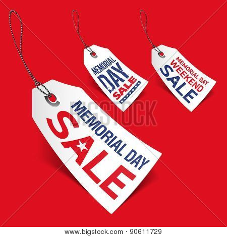 Memorial Day sale tags. Vector.