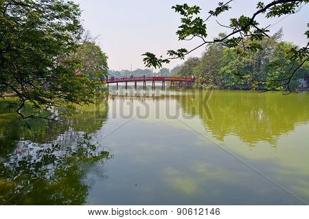 Lake Hoan Kiem & Red Bridge In Spring Hanoi Vietnam