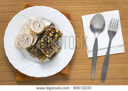 Turkish Delight Sweet Taste Delicious On Plate With Spoon And Fork