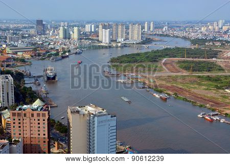 Panoramic Aerial View Of Saigon River And City In The Afternoon.