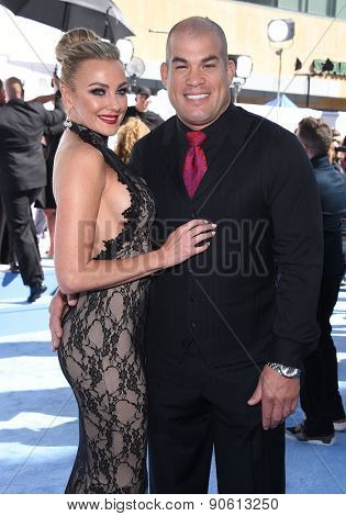 LOS ANGELES - APR 12:  Tito Ortiz & Amber Nicole Miller arrives to the MTV Movie Awards 2015  on April 12, 2015 in Hollywood, CA