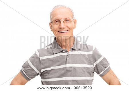 Cheerful senior gentleman in a casual gray polo shirt, smiling and looking at the camera isolated on white background