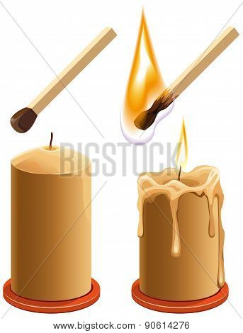 Set match and candle. New and burns