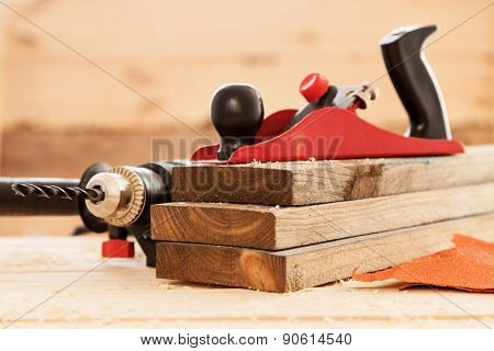 Woodworking tools on a carpenter's table.