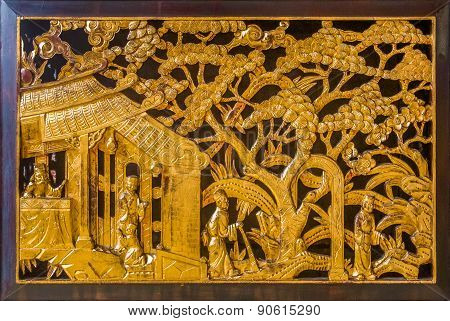 Carved Wall Ornament On A Buddhist Temple
