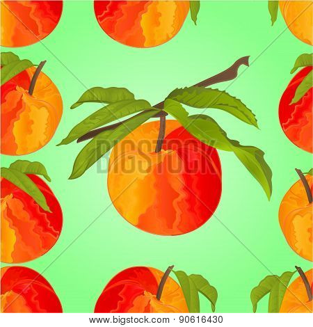 Seamless Texture Peach With Leaves Vector