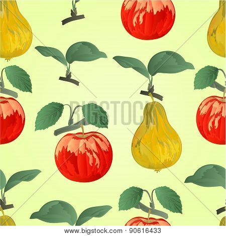 Seamless Texture Apple With Pear  Vector