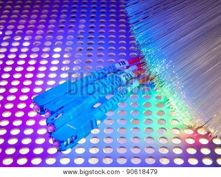 fibre optics on a technology background