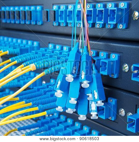 fiber optic switchboard with wires