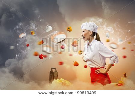 Angry Chef Is Shouting At Somebody, Around Blazing Ingredients And Plates