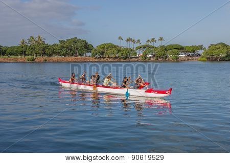 Outrigger Canoe Paddlers.