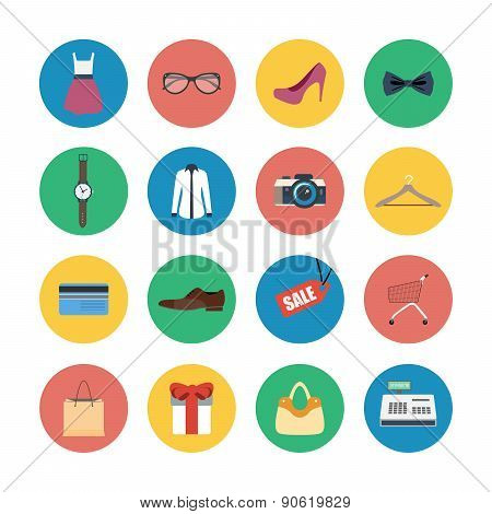 Vector collection of modern flat shopping icons.