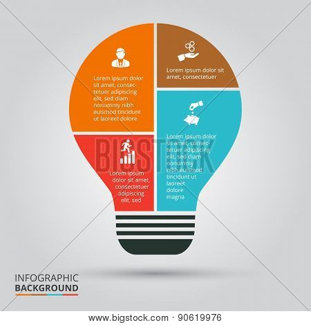 Vector light bulb for infographic.