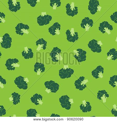 broccoli seamless pattern. green food vector background