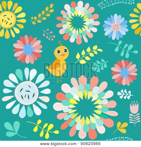 Vector Floral Pattern With Colorful  Flowers And Birds . Bright Background .