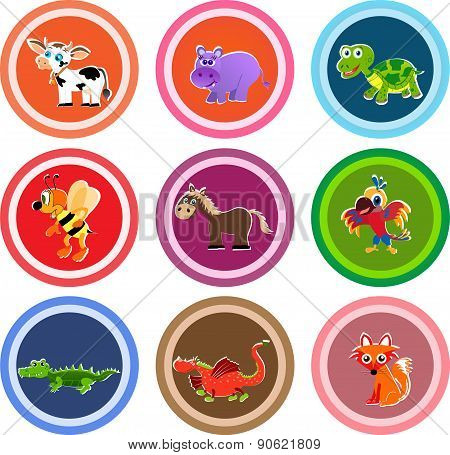 Set of nine animal stickers