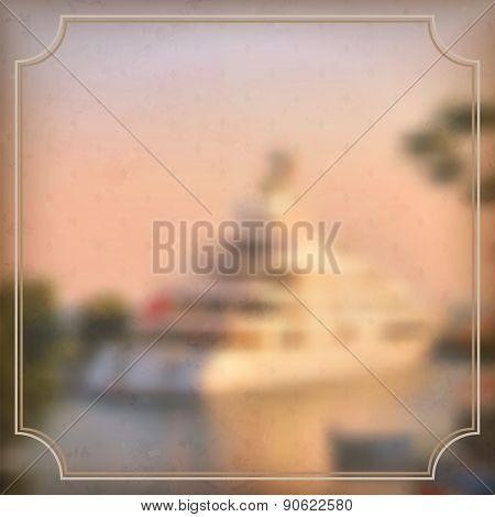 Vector Illustration Of Blurred Background For Design. Sea Landscape. Travel Design. Travel Label Of