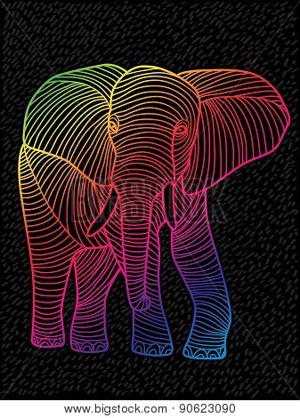 Abstract vector art spectrums lined design (elephant)