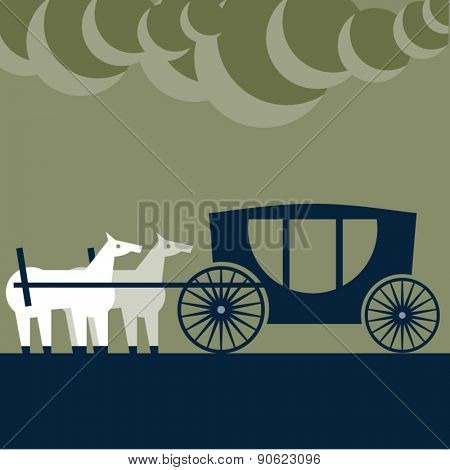 Vector illustration of abstract funny characters. Two strange horses behind the 	 carriage