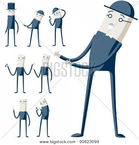 Vector illustration of abstract funny characters. Cute businessman in different poses