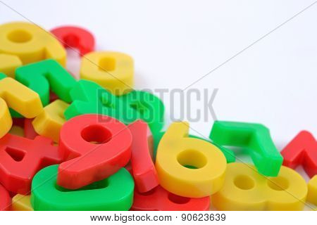 Colorful Plastic Numbers On White