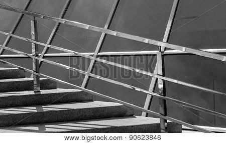 Abstract Stairs And Chrome Side Railings