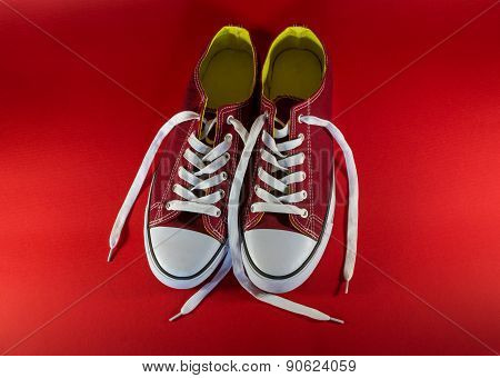Pair Of Ruby Red And White Trainers