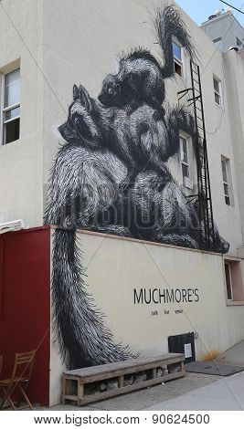 Mural art by Belgian Artist Roa at East Williamsburg in Brooklyn.