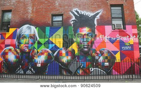Mural art by Brazilian Mural Artist Eduardo Kobra recruits Pop art legend Andy Warhol