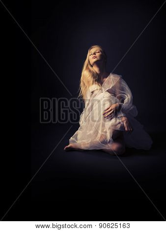 A Beautiful Half-naked Girl In A White Translucent Clothes On A Dark Background