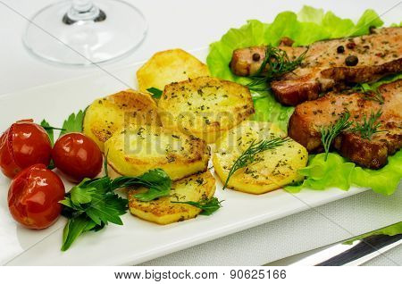 Fried Bacon And Potatoes