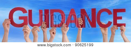 Hands Holding Red Straight Word Guidance Blue Sky