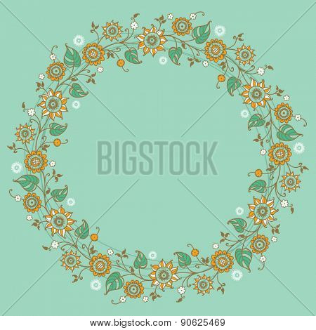 card with floral pattern. wreath of stylized sunflowers.
